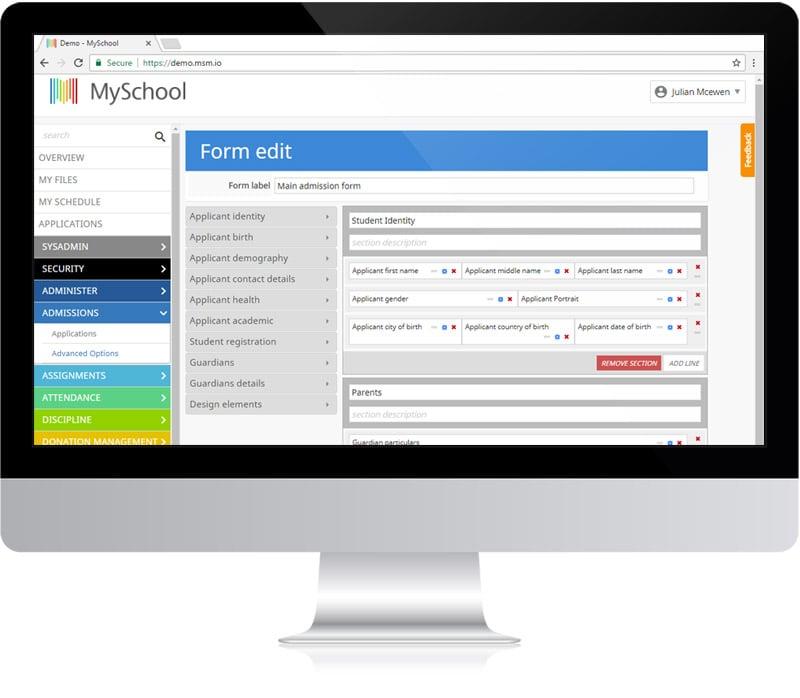 Admissions and enrolment custom form builder